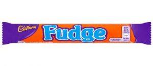 Cadbury Fudge Bar orange wrapper with blue writting
