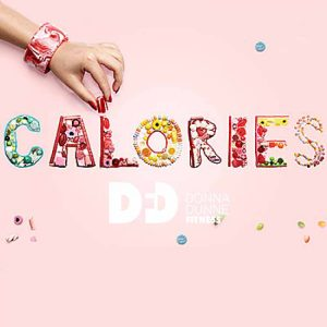 the word calories made out of sweets with a hand reaching over the letter L as if taking a sweet