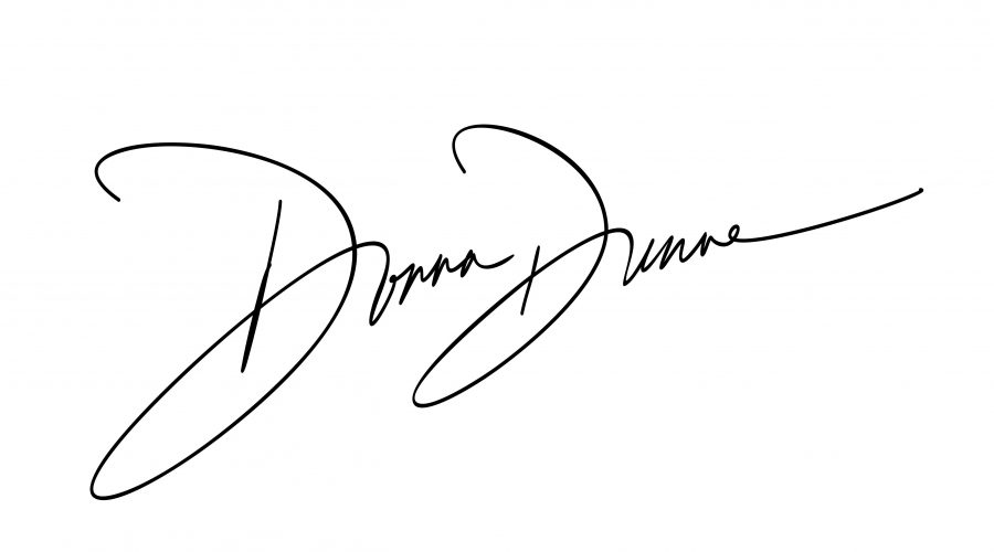 donna dunne name wrote in script writting