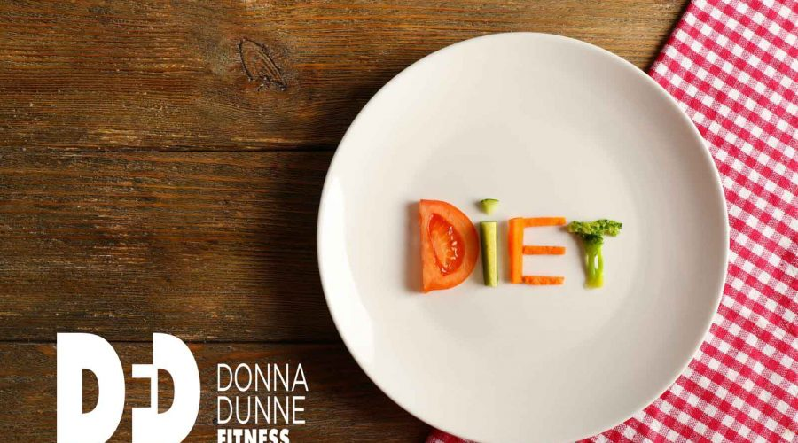 plate with the word diet spelled out in vegetables with donna dunne fitness logo on the left hand side